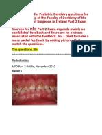 MFD Part 2 - Pediatric Dentistry Exams Questions