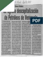 Edgard Romero Nava Se Agrava Descapitalizacion de PDVSA - El Mundo 21.04.1987