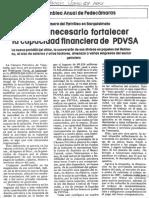 Edgard Romero Nava Se Hace Necesario Fortalecer Capacidad Financiera de PDVSA - La Nacion 27.06.1987