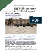 Dos pacientes mueren tras recibir sendos riñones infectados con el virus del herpes