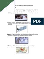 Clases y Diametro Para Tuberias de Agua y Desague