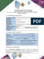Guía de actividades y rúbrica de evaluación - Paso 3 - Realizar diseño curricular