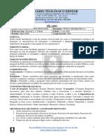 Sílabo TE803 Eclesiologia Orientação Ministerial.