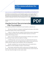 Geotechnical Recommendations for Pile Foundation