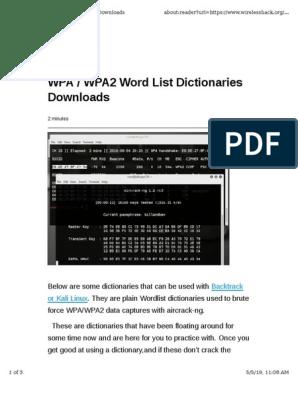 WPA / WPA2 Word List Dictionaries Downloads: Backtrack or