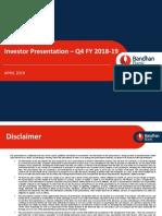 Investor Presentation Q4 2019 Bandhan Bank