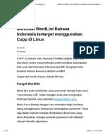 Membuat WordList Bahasa Indonesia Tertarget Menggunakan Cupp Di Linux