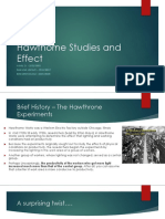 Hawthorne Studies and Effect