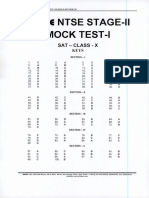 Ntse Stage 2 Mock Test 1 Answer Key Held on 29-04-19