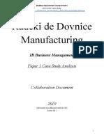 Business Paper 1 - Radeki de Dovnic Manufacturing - Case Study Collaboration