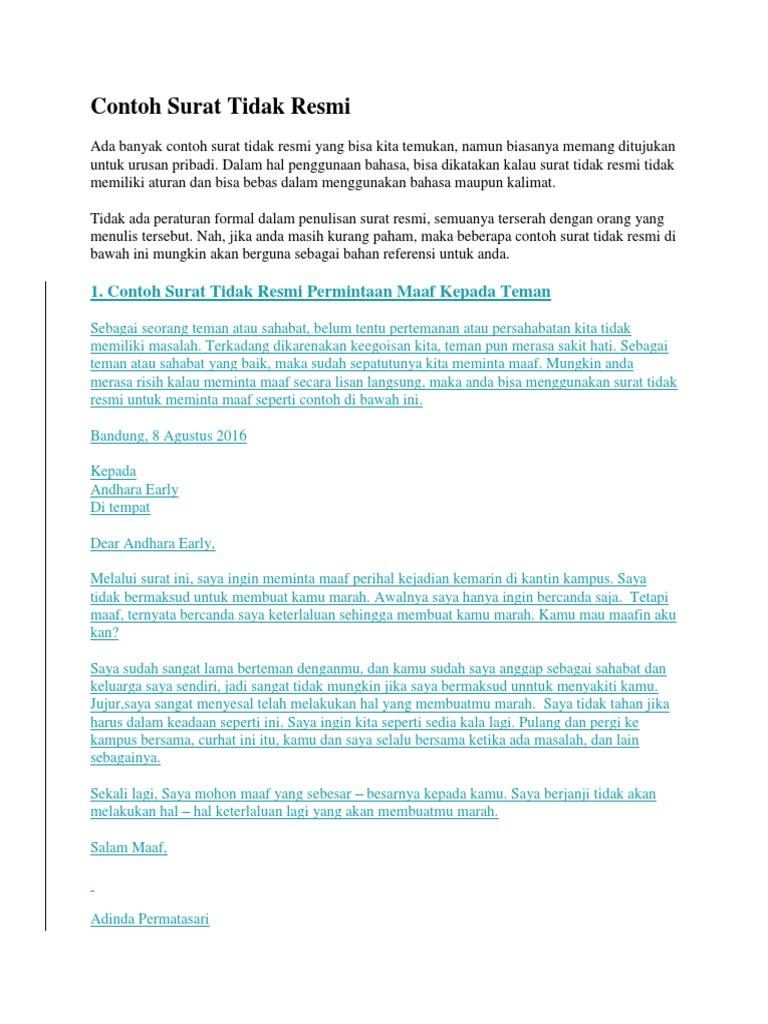 1 Contoh Surat Tidak Resmi Permintaan Maaf Kepada Teman