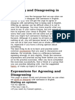 Agreeing and Disagreeing in English
