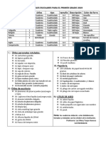 Lista de Útiles Escolares Para El Primer Grado 2019