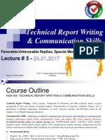 Lecture 3 - FavorableUnfavorable Replies, Special Messages