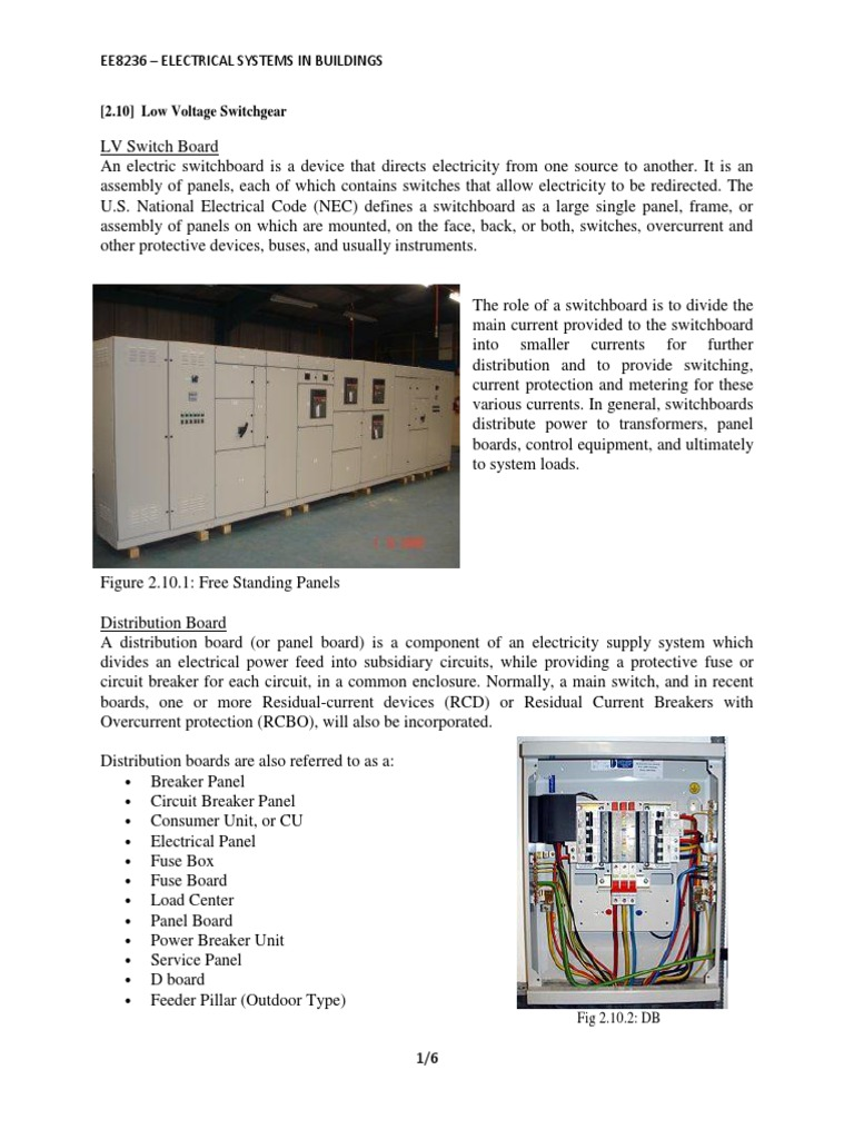 fuse distribution box main switch ee8236     electrical systems in buildings  2 10  low voltage  ee8236     electrical systems in
