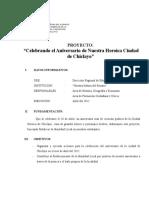 Proyecto de Celebración Del Aniversario de Chiclayo