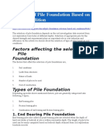 Selection of Pile Foundation