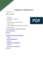 Ley N° 27444 Procedimiento Administrativo General