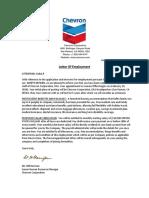 Chevron Corporation Employment Letter