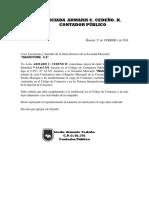 Carta Comisario 2018