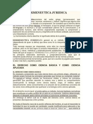 Hermeneutica Juridica Hermenéutica Fuentes Del Derecho