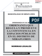 Ordenanza que regular y promueve la convivencia en espacios públicos en Miraflores