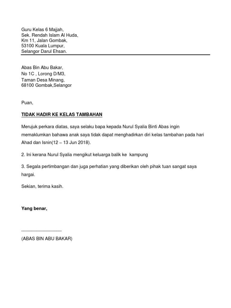 Surat Tidak Hadir Sekolah Docx