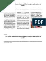 La Gestion Escolar y La Participacion de Los Padres de Familia en El Proceso Educativo de Sus Hijos