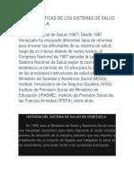 Caracteristicas de Los Sistemas de Salud en Venezuela