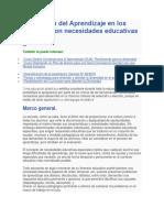Evaluación Del Aprendizaje en Los Alumnos Con Necesidades Educativas Especiales