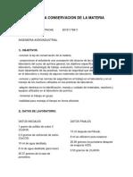 Informe .Ley de La Conservacion de La Materia