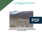 Construcción y Operación de Un Almacén Temporal de Residuos Peligrosos en La Unidad Minera Aurífera Cuatro de Enero s.a.
