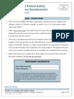 A01_Hospital Patient Safety Indicators Questionnaire - Hospital Profile