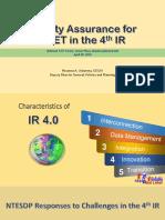TVET Quality Assurance for TVET for the 4IR Deputy Director General ROSANNA a. URDANETA TESDA