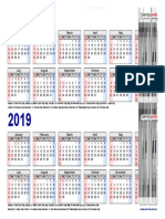 Two Year Calendar 2018 2019 Landscape 2 Rows