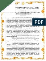 История Передачи Драгоценного Учения Лайя Йоги Eng