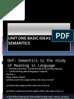 Semantics - Unit One Basic Ideas in Semantics