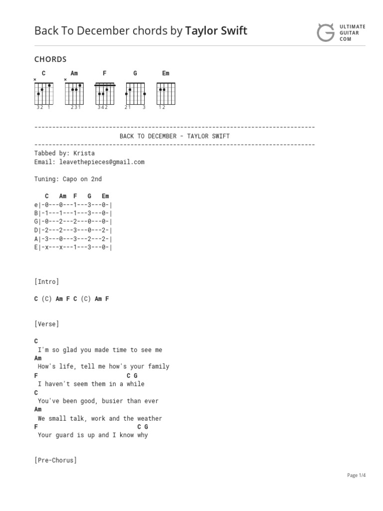 Back To December Taylor Swift Ukulele Chords