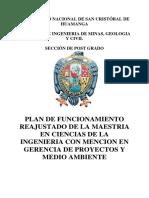 Plan de Funcionamiento Reajustado-gerencia de Proy y Med Ambiente