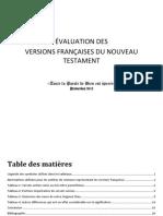 Comparaison Et Évaluation Des Versions Françaises Du Nouveau Testament