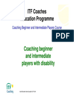 Coaching beginner and intermediate players with disability