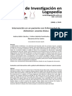Alexia Anómica. Intervención en Un Paciente Con Alzheimer