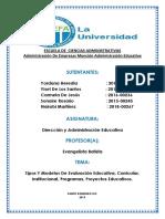 Tipos Y Modelos de Evaluación Educativa Curricular