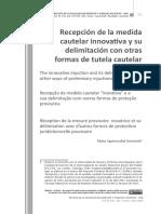 Recepción de la medida cautelar innovativa y su delimitación con otras formas de tutela cautelar - Aguirrezabal Grünstein.pdf