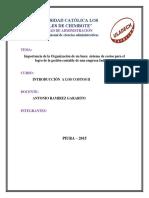 Importancia de la Organización de un buen  sistema de costos para el logro de la gestión contable de una empresa Industrial
