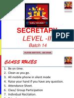Secretarial Level 2 - Batch 14 - Session 2 & 3