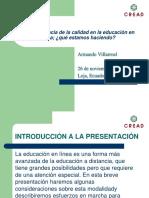 Armando Villarroel. Importancia de La Calidad en La Educacion en Linea