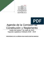 Agenda de Comisión de Constitución (7 de Mayo)