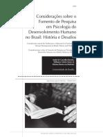 O Fomento de Pesquisas Em Psicologia Do Desenvolvimento No Brasil