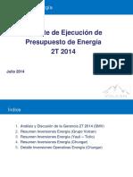 % Ejecución Presupuesto CAPEX 2014 - Gerencia de Energia